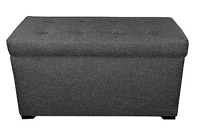 MJLFurniture Angela 8 Button Tufted Storage Trunk Bench; Dark Grey