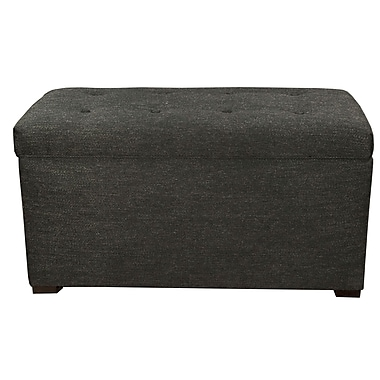 MJLFurniture Angela 8 Button Tufted Belfast Storage Trunk Bench; Charcoal