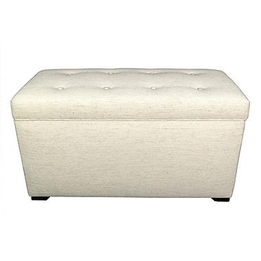 MJLFurniture Angela 8 Button Tufted Belfast Storage Trunk Bench; Ivory