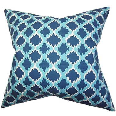 The Pillow Collection Welcome Geometric Throw Pillow Cover; Blue