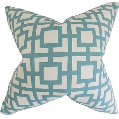 The Pillow Collection Callas Geometric Cotton Throw Pillow Cover; Light Blue