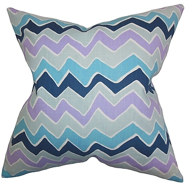 The Pillow Collection Achsah Zigzag Cotton Throw Pillow Cover; Purple Blue