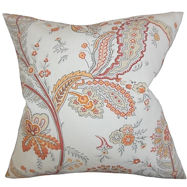The Pillow Collection Dilys Floral Linen Throw Pillow Cover; Orange