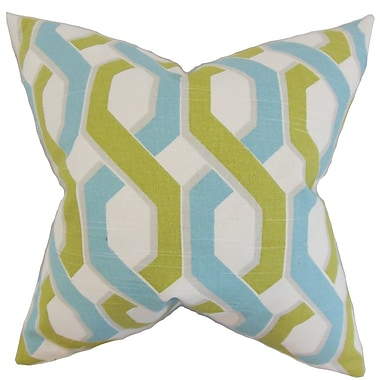 The Pillow Collection Chauncey Geometric Cotton Throw Pillow Cover; Aqua Green