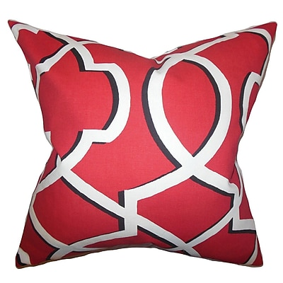 The Pillow Collection Curan Geometric Cotton Throw Pillow Cover; Red