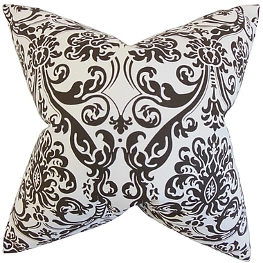 The Pillow Collection Saskia Damask Throw Pillow Cover; Chocolate White