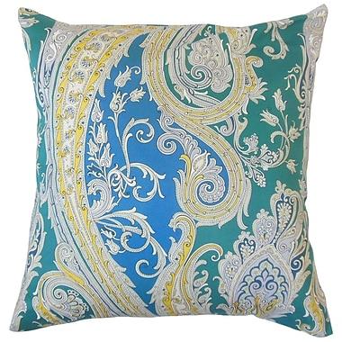 The Pillow Collection Efharis Paisley Cotton Throw Pillow Cover; Calypso Blue
