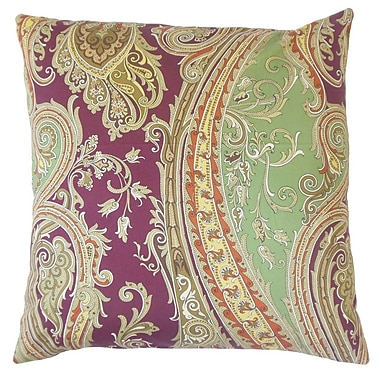 The Pillow Collection Efharis Paisley Cotton Throw Pillow Cover; Cranberry