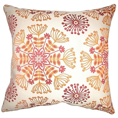 The Pillow Collection Jamesie Floral Throw Pillow Cover; Flame