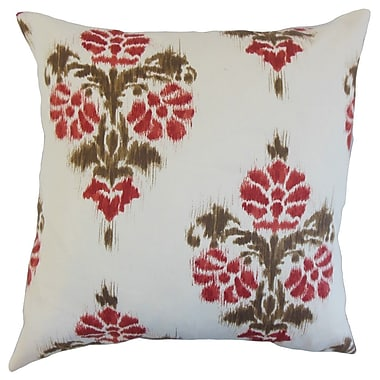The Pillow Collection Edwige Ikat Cotton Throw Pillow Cover; Red