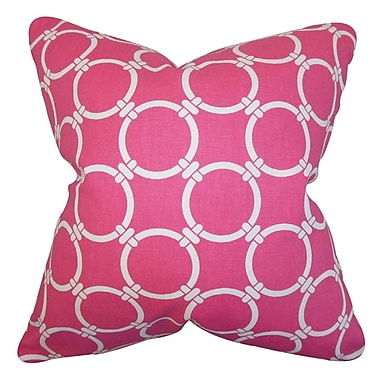 The Pillow Collection Betchet Geometric Cotton Throw Pillow Cover; Candy Pink