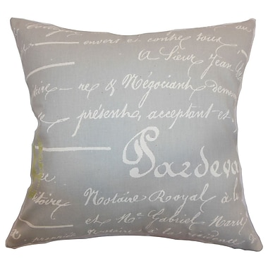 The Pillow Collection Saloua Typography Cotton Throw Pillow Cover; Reed Natural