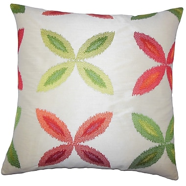 The Pillow Collection Syshe Ikat Throw Pillow Cover; Red Green