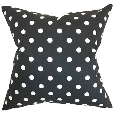 The Pillow Collection Nancy Polka Dots Throw Pillow Cover; Black White