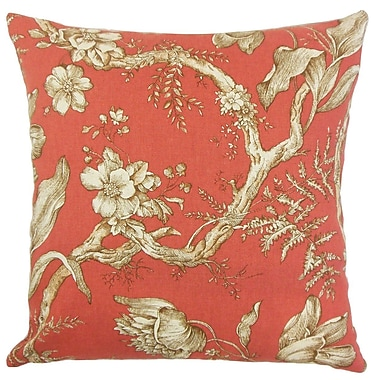 The Pillow Collection Ilise Floral Throw Pillow Cover; Cranberry