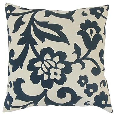 The Pillow Collection Fisseha Floral Cotton Throw Pillow Cover; Indigo