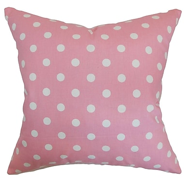 The Pillow Collection Nancy Polka Dots Throw Pillow Cover; Candy Pink White