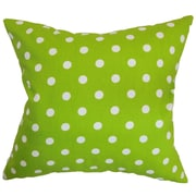 The Pillow Collection Nancy Polka Dots Throw Pillow Cover; Chartreuse White