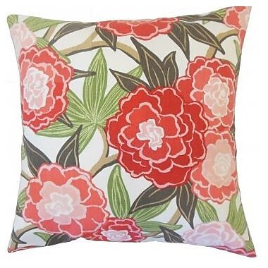 The Pillow Collection Iniabi Floral Cotton Throw Pillow Cover