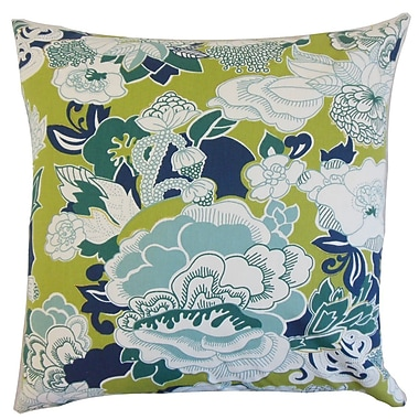 The Pillow Collection Dariela Floral Cotton Throw Pillow Cover; Aqua Green