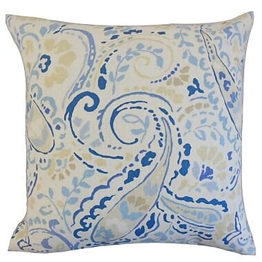 The Pillow Collection Robbia Floral Linen Throw Pillow Cover; Ocean