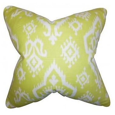 The Pillow Collection Ishaq Ikat Linen Throw Pillow Cover