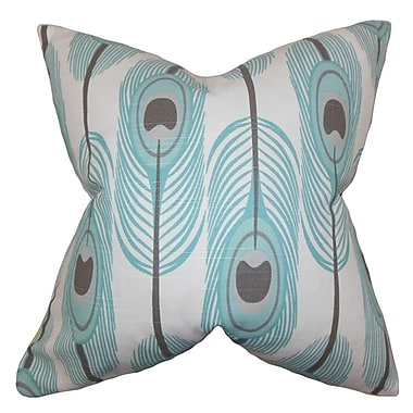 The Pillow Collection Hedy Feather Cotton Throw Pillow Cover; Blue