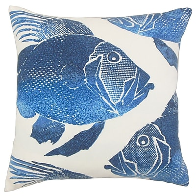 The Pillow Collection Lael Outdoor Throw Pillow Cover; Cobalt