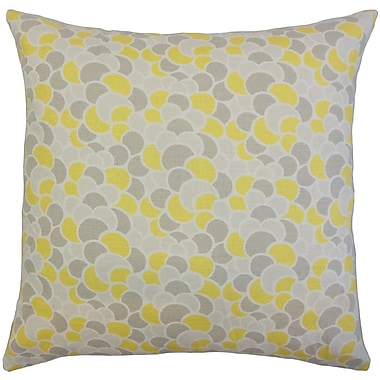 The Pillow Collection Lily Geometric Throw Pillow Cover; Canary