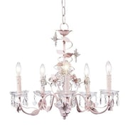 Jubilee Collection Flower 5-Light Crystal Chandelier; Pink