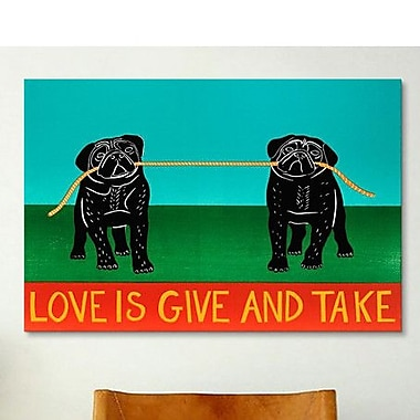 iCanvas Love Is Give and Take Pugs by Stephen Huneck Painting Print on Wrapped Canvas