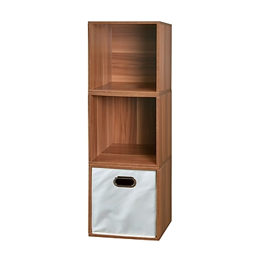 Regency Niche Cubo Storage Set, Warm Cherry/Natural, 3 Cubes and 1 Canvas Bin (PC3PKWC1TOTE)