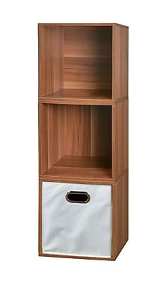 Regency Niche Cubo Storage Set, Warm Cherry/Natural, 3 Cubes and 1 Canvas Bin (PC3PKWC1TOTE)