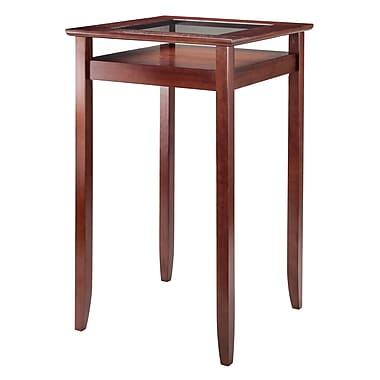 Winsome Halo Pub Table with Glass Top, Walnut Finish, (94127)