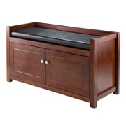 Winsome Hall Storage Bench with Cushion Seat, Walnut (94392)