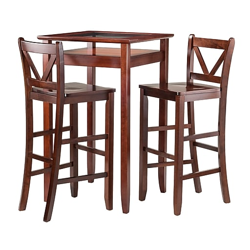 "Winsome Halo Pub Table with Two 30"" V-Back Stools, Walnut (94586)"