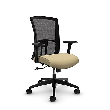 Global Vion High Back Mesh Tilter, Imprint Almond Fabric (Tan) Black Mesh