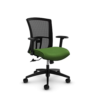 Global Vion Mid Back Mesh Tilter, Match Green Fabric (Green) Black Mesh