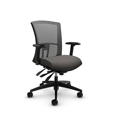 Global Vion Mid Back Mesh Multi Tilter, Imprint Graphite Fabric (Grey) Stone Mesh, Grey