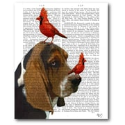 Courtside Market Basset Hound and Birds Graphic Art on Wrapped Canvas