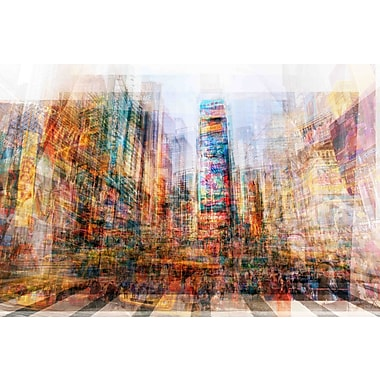 Marmont Hill 'New York Times Sq' by Chris Albert Painting Print on Wrapped Canvas; 16'' H x 24'' W