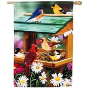 Evergreen Enterprises, Inc Spring Backyard Birds Feast Vertical Flag
