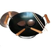 Taylor & Ng 6 Piece 14'' Preseasoned Double Handle Round Bottom Wok Set