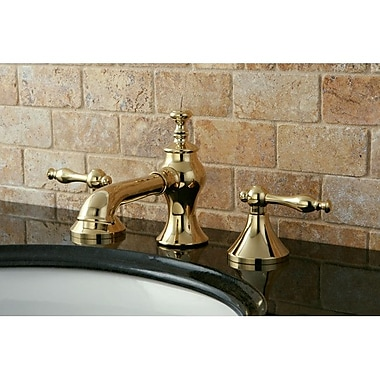 Kingston Brass Naples Double Handle Widespread Bathroom Faucet w/ Pop-Up Drain; Polished Brass