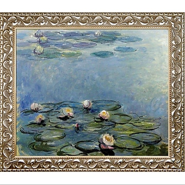 Tori Home Water Blue/Gray Lilies by Claude Monet Framed Painting Print