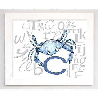 Doodlefish Crab by Regina Nouvel Framed Graphic Art; White Frame