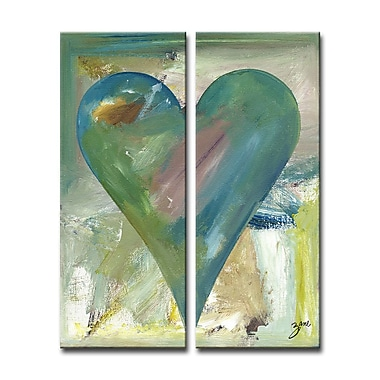 Ready2hangart Zane Heartwork 'Meme Darilyn' Watercolor Painting Print on Canvas in Green/Blue