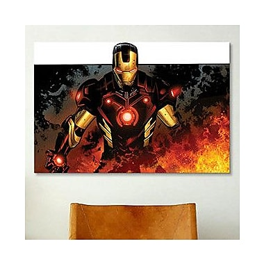 iCanvas Marvel Comics Iron Man In Flames Graphic Art on Canvas; 40'' H x 60'' W x 1.5'' D