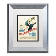 """Trademark Fine Art ''It's a Wonderful Life'' by Vintage Apple Collection 11"""" x 14"""" White Matted Silver Frame (ALI0234-S1114MF)"""