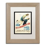 "Trademark Fine Art ''It's a Wonderful Life'' by Vintage Apple Collection 11"" x 14"" White Matted Wood Frame (ALI0234-T1114MF)"
